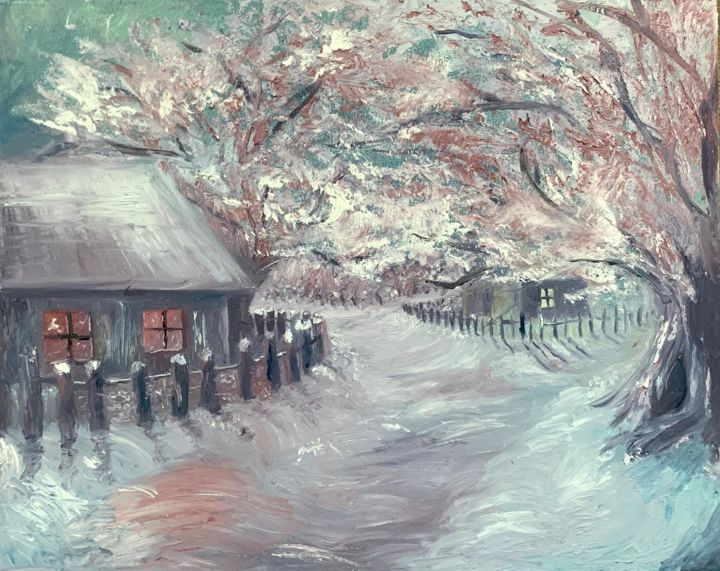 Oil painting winter landscape (Fantasy) - Drawing,  15.8x19.7x0.6 in, ©2019 by Devid Gruzdev -                                                                                                                                                                                                                                                                                                                                                                                                                                                                                                                                                                                                                                                                                                                                                                                                                                                                                                              Abstract, abstract-570, Seasons, Tree, Home, Places, Landscape, Original Oil Art, Winter landscape, Painting, Scenery, Fantasy, Creation, Gift for mom, Original Idea, Home Decor, Gift, work with a palette knife, brush work