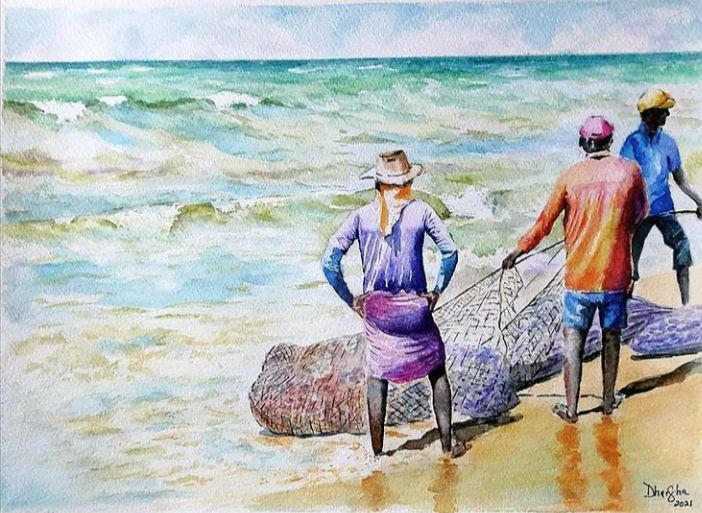 """Painting titled """"Catch of the day #2"""" by Dharsha Samarasinha, Original Art, Watercolor"""