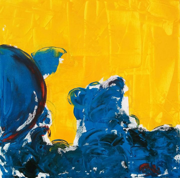 Sky On A Happy Day - Painting,  40x40x3.8 cm ©2017 by Diana Heit -                                                                                                                        Abstract Expressionism, Canvas, Aerial, Seasons, Rural life, Landscape, Seascape, Water, algarve, portugal, sky, sea, sand, ocean, landscape, abstract, blue, yellow, warm, sunny