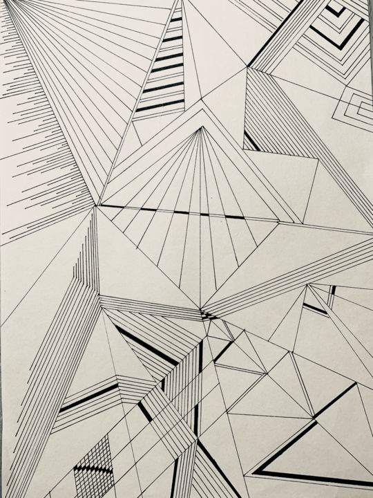 Gizeh - Drawing,  29.7x21 cm ©2019 by Diane Segard -                                                    Abstract Art, Conceptual Art, Art Deco, pyramides, traits, traingles, lignes, noir et blanc