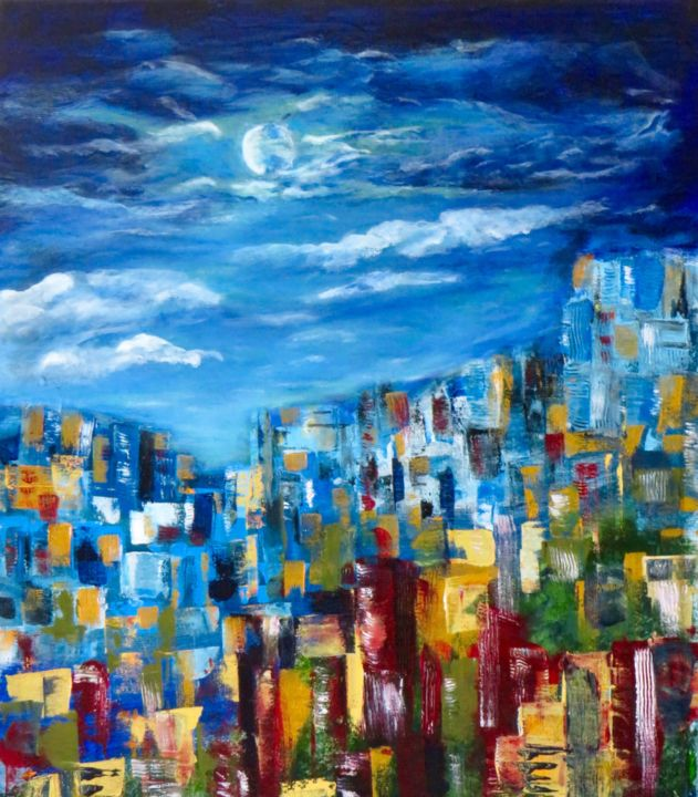 """Painting titled """"City Scapes of Port…"""" by Dianne Bauer, Original Art, Acrylic"""