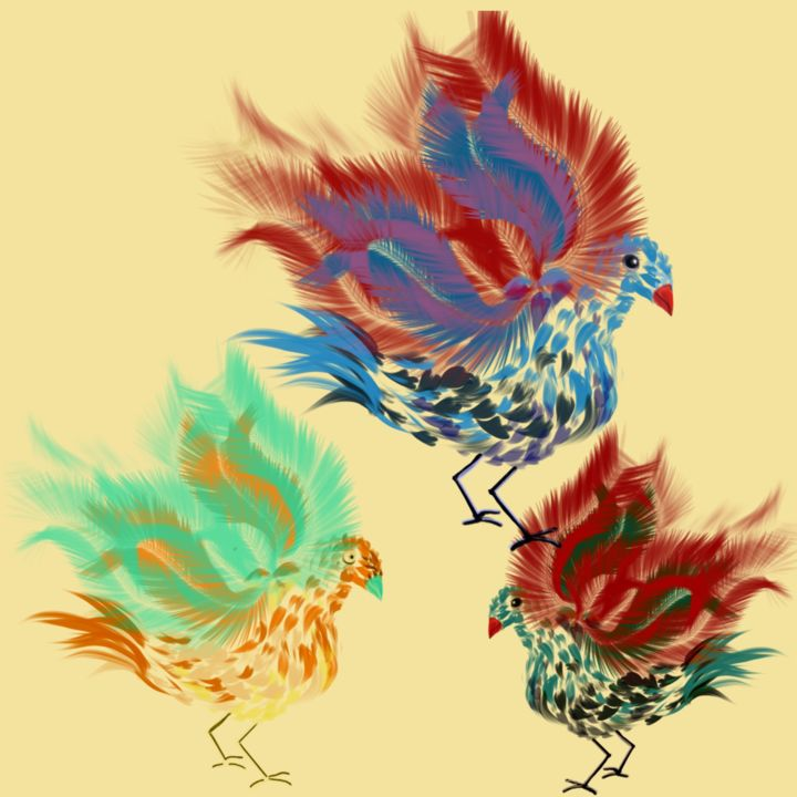 """Digital Arts titled """"Birds with style."""" by Dianne Bauer, Original Art, Digital Painting"""