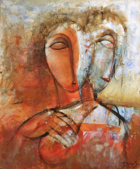 Couple Amoureaux _H II - Painting,  55x46 cm ©2004 by DibaSar -
