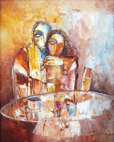 HISTOIRES AU BAR XII - Painting,  65x50 cm ©2014 by DibaSar -                            Abstract Expressionism, couple, bar, histoires au bar, amoureaux, amour