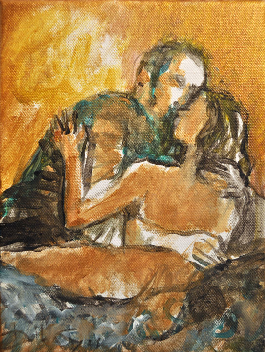 Le Baiser - Painting,  24x18 cm ©2014 by DibaSar -                                                            Expressionism, Canvas, Love / Romance, baiser, amour, tendresse