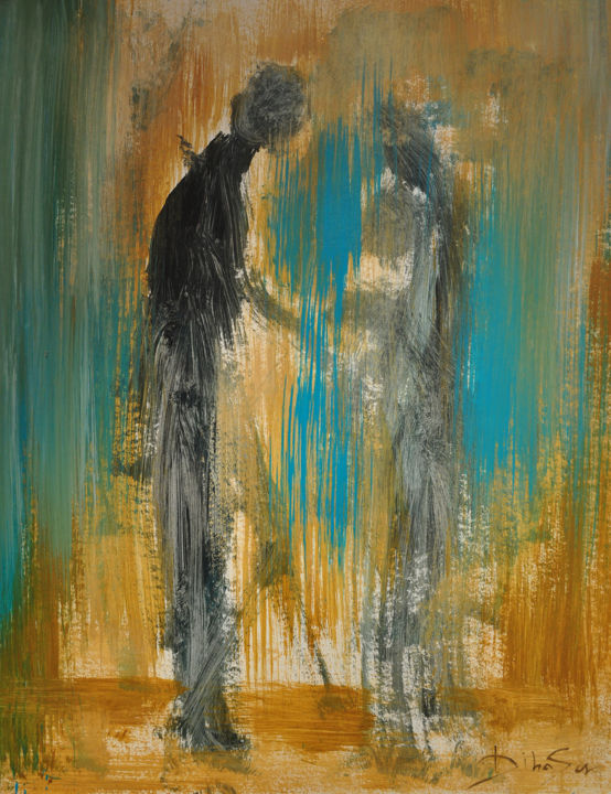 RETROUVAILLES V - Painting,  65x50 cm ©2014 by DibaSar -                                                            Expressionism, Canvas, Love / Romance, REUNION, RETROUVAILLE, MANQUE, AMOUR