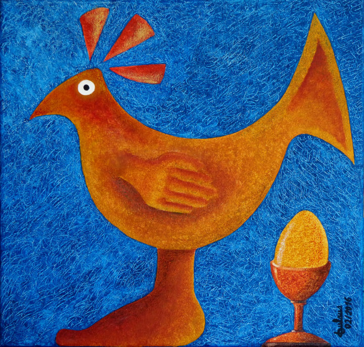 Poulet-coque - Painting,  15.8x15.8 in, ©2016 by Didier DUBUIS -