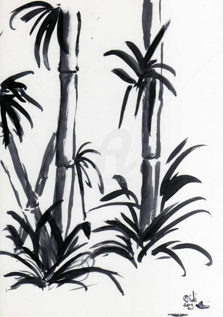 Bamboo 2 - Drawing,  29x21x29 cm ©2009 by Didi Le Lapin -                                                                    Figurative Art, Illustration, Paper, Black and White
