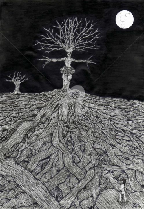 Anien - Drawing,  29x21 cm ©2009 by Didi Le Lapin -                                                                                            Illustration, Paper, Black and White, Tree, Fairytales, Fantasy