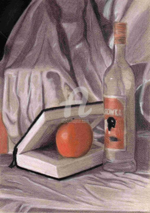 Détente - Drawing,  29x21 cm ©2011 by Didi Le Lapin -                                                                                    Illustration, Paper, Interiors, Still life, Food & Drink, Nature Morte
