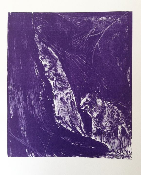 """Printmaking titled """"Begegnung - Encount…"""" by Dietmar Egger, Original Art, Lithography"""