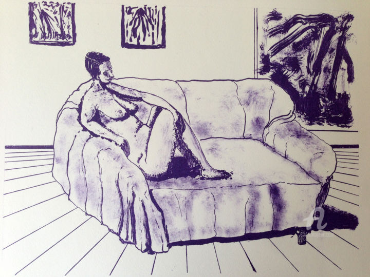 """Printmaking titled """"Akt - Nude"""" by Dietmar Egger, Original Art, Lithography"""