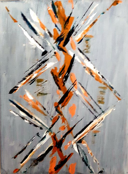 graffiti - Painting,  9.5x7.1x0.8 in, ©2017 by Brigitte Kölli -                                                                                                                                                                          Abstract, abstract-570, Abstract Art