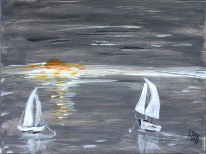 Hoffnung - Painting,  30x40x2 cm ©2017 by Brigitte Kölli -                                                                                                                Canvas, Boat, Yacht, Seascape, Nature, Ships, Sailboat, Water