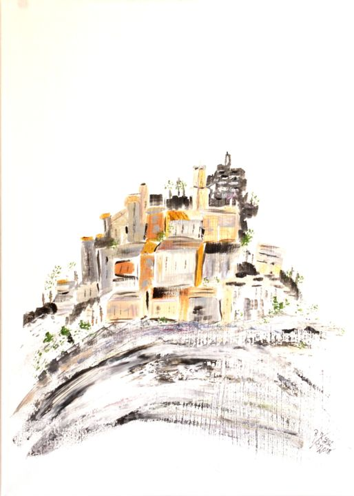 Eze - Painting,  70x50x2 cm ©2018 by Brigitte Kölli -                                                                                            Concrete Art, Canvas, Architecture, Mountainscape, Places, Cityscape