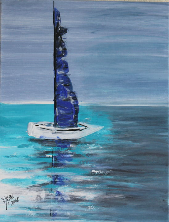 bateau sur l`eau - Painting,  35x26x2 cm ©2018 by Brigitte Kölli -                                                                                            Concrete Art, Canvas, Boat, Seascape, Ships, Sailboat