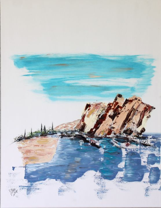 Cap Esterel - Painting,  75x58x3 cm ©2018 by Brigitte Kölli -                                                                                                                    Concrete Art, Canvas, Mountainscape, Landscape, Seascape, Nature, Beach, Water