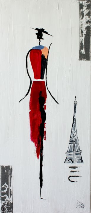 la vie est belle - Painting,  70x30x2 cm ©2018 by Brigitte Kölli -                                                                                            Abstract Art, Canvas, Abstract Art, Architecture, Women, Fashion