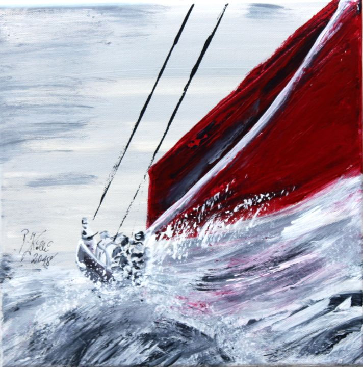 sailing - Painting,  30x30x2 cm ©2018 by Brigitte Kölli -                                                                                                        Concrete Art, Canvas, Boat, Yacht, Seascape, Ships, Sailboat