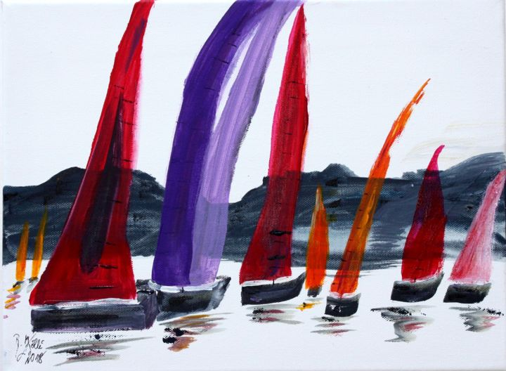 les Voiles de Saint -Tropez - Painting,  30x40x2 cm ©2018 by Brigitte Kölli -                                                                                            Figurative Art, Canvas, Boat, Seascape, Ships, Sailboat