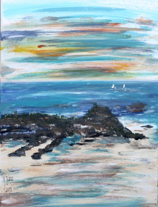 Plage de Saint-Malo - Painting,  11.8x15.8x0.8 in, ©2019 by Brigitte Kölli -                                                                                                          Seascape, Nature