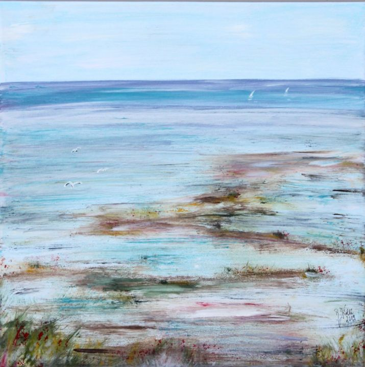Ebbe - Painting,  50x50x2 cm ©2019 by Brigitte Kölli -                                                                                            Concrete Art, Canvas, Landscape, Seascape, Nature, Beach