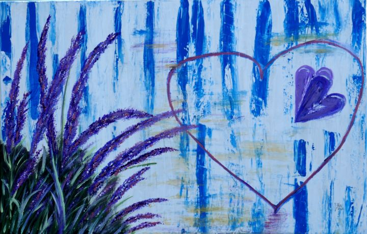For you - Painting,  29.5x45.7x1.2 in, ©2020 by Brigitte Kölli -                                                                                                                                                                                                                                                                  Expressionism, expressionism-591, Flower, Love / Romance, Nature