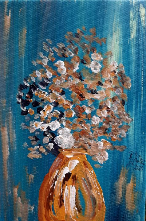 Timeless - Painting,  11.8x7.9x0.8 in, ©2020 by Brigitte Kölli -                                                                                                                                                                                                                      Expressionism, expressionism-591, Flower, Nature