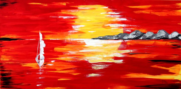 in the morning sun - Painting,  2x39.4x19.7 in, ©2013 by Brigitte Kölli -                                                                                                                                                                          Abstract, abstract-570, Sonne Berge Schiff Segelschiff Meer Sommer