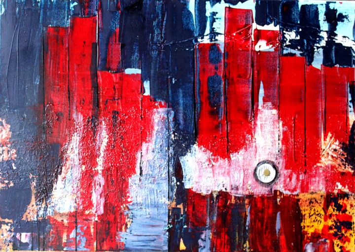 city lights - Painting,  1.2x27.6x19.7 in, ©2014 by Brigitte Kölli -                                                                                                                                                                          Abstract, abstract-570, Abstract Art