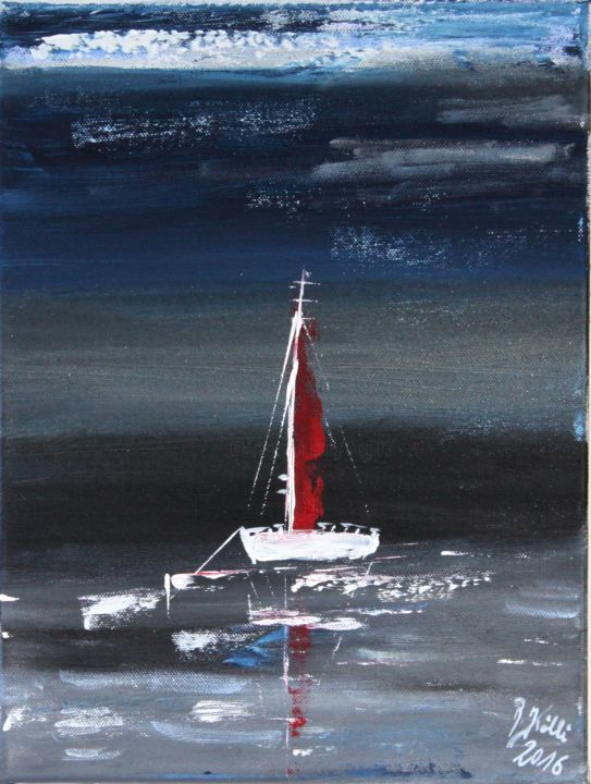 in the night - Painting,  15.8x11.8x1.2 in, ©2016 by Brigitte Kölli -                                                                                                                                                                                                                                                                                                                                                          Figurative, figurative-594, Boat, Yacht, Seascape, Ships, Sailboat