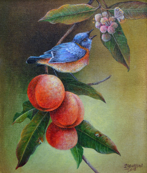 Berry Picking - Painting,  54x28x1.5 in ©2018 by Dilrukshi Chandrika -                                                            Conceptual Art, Canvas, Animals, Animal Paintings, Geometric Style, Acrylic on Canvas, Acrylic Paintings