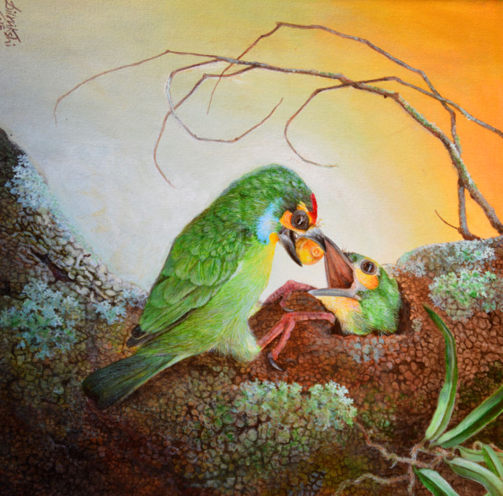 Perfect Moment - Painting,  24x36x1.5 in ©2018 by Dilrukshi Chandrika -                                                                    Conceptual Art, Environmental Art, Modernism, Animals, Animal Paintings, Geometric Style, Acrylic on Canvas, Acrylic Paintings