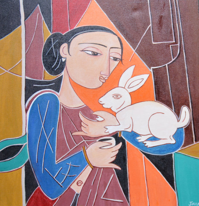 """Painting titled """"Kindness"""" by Dilrukshi Chandrika, Original Art, Acrylic Mounted on Stretcher frame"""