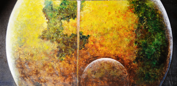 """Painting titled """"Voyager"""" by Dilrukshi Chandrika, Original Art, Acrylic Mounted on Stretcher frame"""