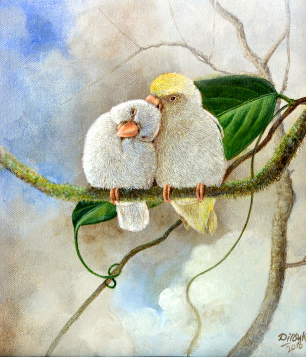 """Painting titled """"Birds in Love"""" by Dilrukshi Chandrika, Original Art, Acrylic Mounted on Stretcher frame"""