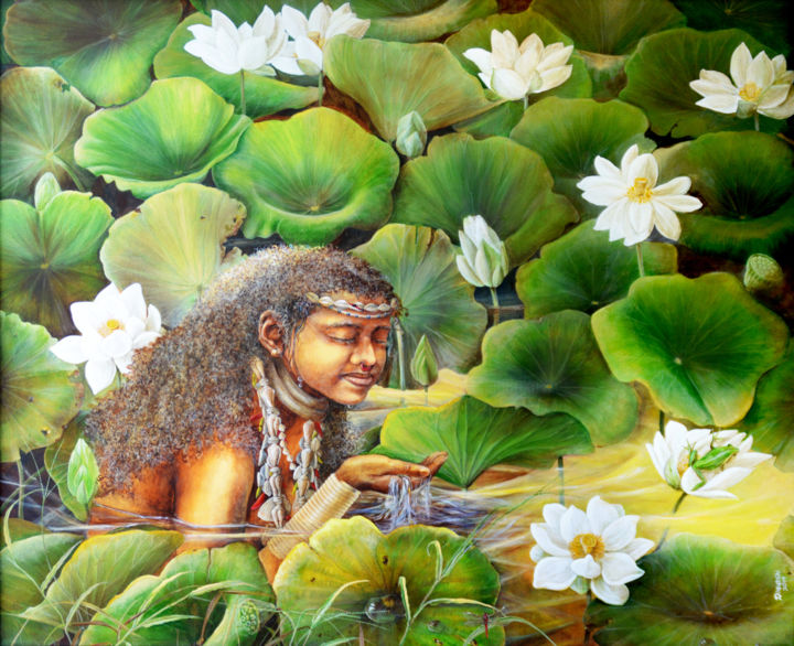 """Painting titled """"Maiden Among Flowers"""" by Dilrukshi Chandrika, Original Art, Acrylic Mounted on Stretcher frame"""