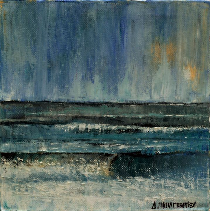 """Painting titled """"Small Seascape 18"""" by Dimitra Papageorgiou, Original Art, Oil"""