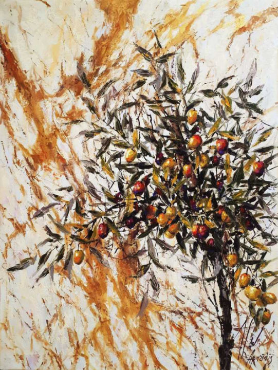 olive tree - Painting,  80x60x2 cm ©2018 by DIMITRIS APAZIDIS -                                                        Figurative Art, Canvas, Botanic
