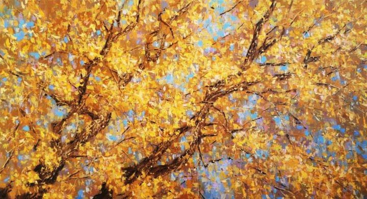 Yellow tree - Painting,  60x110x2 cm ©2018 by DIMITRIS APAZIDIS -                                                            Impressionism, Canvas, Tree, tree, yellow