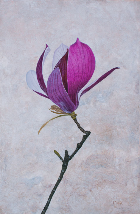 Magnolia Blossom - Painting,  23.6x15.8x0.1 in, ©2019 by Dietrich Moravec -                                                                                                                                                                                                                                                                                                                                                                                                                                                      Hyperrealism, hyperrealism-612, Flower, Botanic, acrylic, blossom, magnolia, flower, faux marble