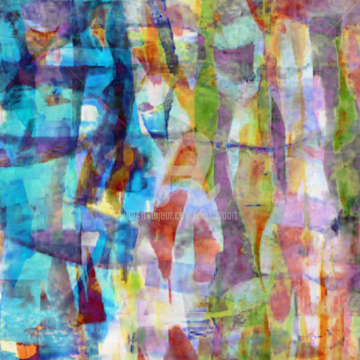 """Painting titled """"Patchwork Painting…"""" by Tsveta Dinkova, Original Art, Watercolor"""