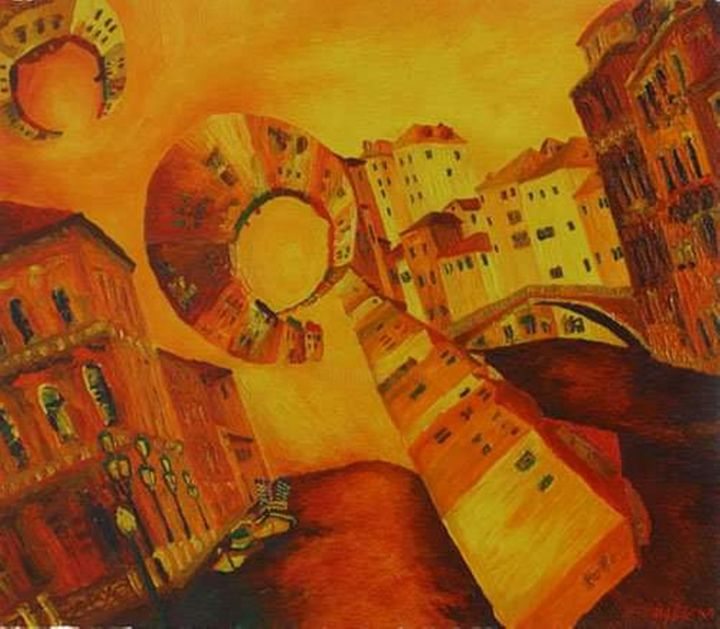 """Painting titled """"Distorted Venice"""" by Dino """"Magnificent"""" Bakić D V B, Original Art, Oil"""