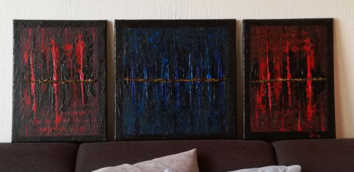 Cave - Painting,  40x120x2 cm ©2019 by Dirk Jetter -                                        Abstract Art, Abstract Art