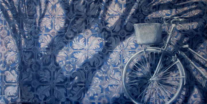 White bicycle - Painting,  80x160x2 cm ©2018 by Dita Luse -