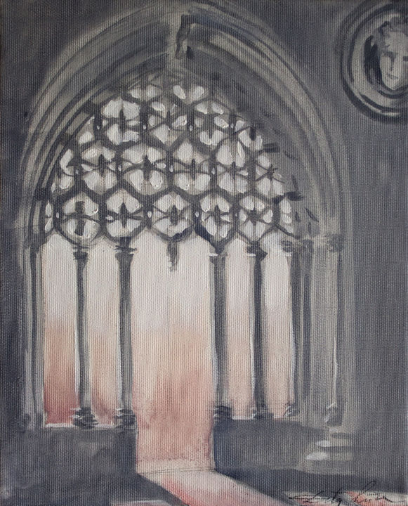 Arch - Painting,  10.6x8.7x0.8 in, ©2018 by Dita Luse -