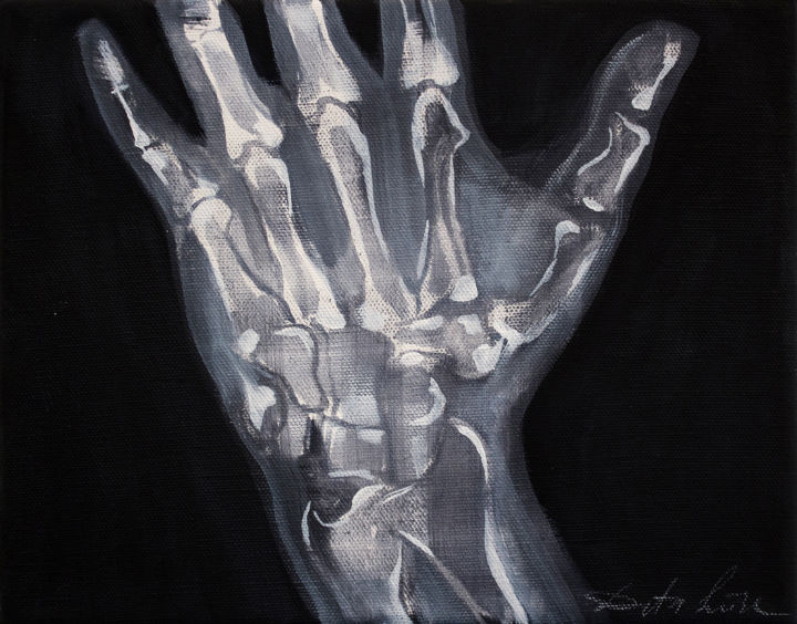 Palm - Painting,  19x24x2 cm ©2018 by Dita Luse -                            Canvas, x-ray, hand, light, anatomy
