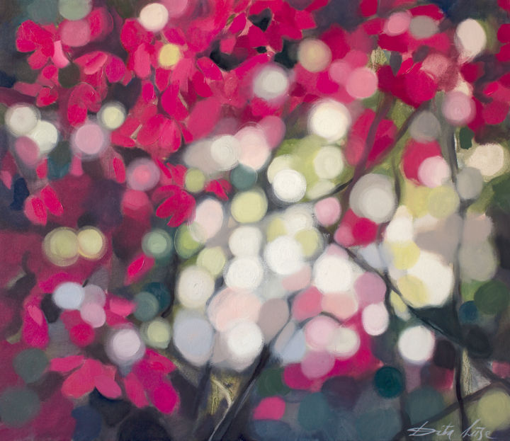 Glitter. Floral - Painting,  60x70x2 cm ©2018 by Dita Luse -                        Canvas