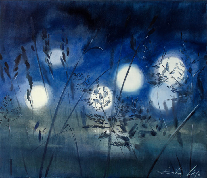 Solstice. Night - Painting,  60x70x2 cm ©2018 by Dita Luse -                        Canvas