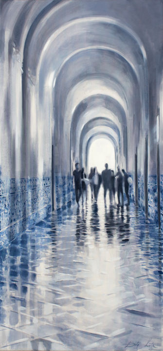 Alma Mater - Painting,  63x31.5x0.8 in, ©2020 by Dita Luse -                                                                                                                                                                                                                                                                                                                                                                                                                                                                                                                                                                                                                                      Figurative, figurative-594, Architecture, Dita Luse, Painting, realism, magical realism, universitu, students, echo, hallway, lights, tiles